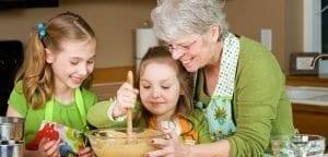 grandma baking with grandkids