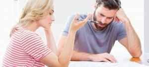 Couple sitting at mediation table